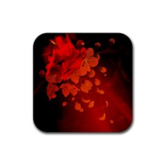 Cherry Blossom, Red Colors Rubber Square Coaster (4 Pack)  by FantasyWorld7