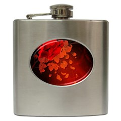 Cherry Blossom, Red Colors Hip Flask (6 Oz) by FantasyWorld7