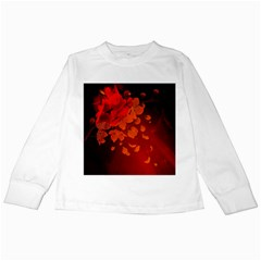 Cherry Blossom, Red Colors Kids Long Sleeve T Shirts by FantasyWorld7