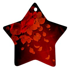 Cherry Blossom, Red Colors Star Ornament (two Sides) by FantasyWorld7