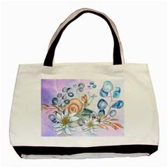 Snail And Waterlily, Watercolor Basic Tote Bag by FantasyWorld7