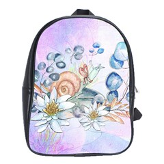 Snail And Waterlily, Watercolor School Bag (large) by FantasyWorld7