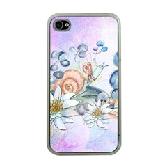 Snail And Waterlily, Watercolor Apple Iphone 4 Case (clear) by FantasyWorld7