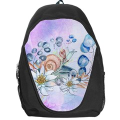 Snail And Waterlily, Watercolor Backpack Bag by FantasyWorld7