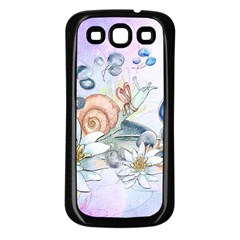 Snail And Waterlily, Watercolor Samsung Galaxy S3 Back Case (black) by FantasyWorld7