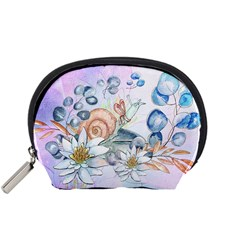 Snail And Waterlily, Watercolor Accessory Pouches (small)  by FantasyWorld7