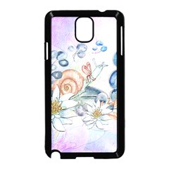 Snail And Waterlily, Watercolor Samsung Galaxy Note 3 Neo Hardshell Case (black) by FantasyWorld7