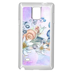 Snail And Waterlily, Watercolor Samsung Galaxy Note 4 Case (white) by FantasyWorld7