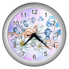Snail And Waterlily, Watercolor Wall Clocks (silver)  by FantasyWorld7