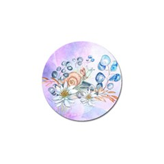 Snail And Waterlily, Watercolor Golf Ball Marker by FantasyWorld7