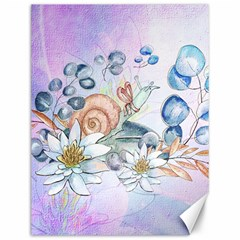 Snail And Waterlily, Watercolor Canvas 12  X 16   by FantasyWorld7