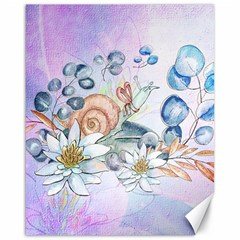 Snail And Waterlily, Watercolor Canvas 16  X 20   by FantasyWorld7