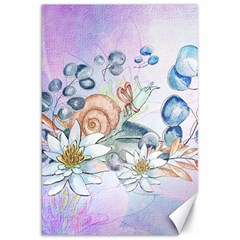 Snail And Waterlily, Watercolor Canvas 20  X 30   by FantasyWorld7