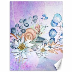 Snail And Waterlily, Watercolor Canvas 36  X 48   by FantasyWorld7