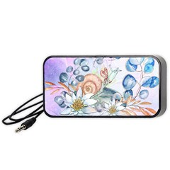 Snail And Waterlily, Watercolor Portable Speaker (black) by FantasyWorld7