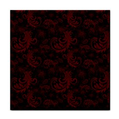 Dark Red Flourish Tile Coasters by gatterwe
