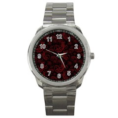 Dark Red Flourish Sport Metal Watch by gatterwe