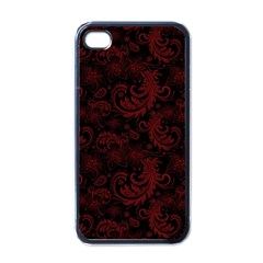 Dark Red Flourish Apple Iphone 4 Case (black) by gatterwe