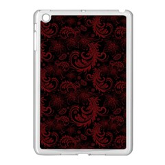 Dark Red Flourish Apple Ipad Mini Case (white) by gatterwe
