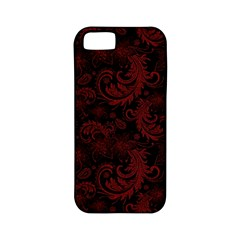 Dark Red Flourish Apple Iphone 5 Classic Hardshell Case (pc+silicone) by gatterwe