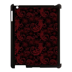 Dark Red Flourish Apple Ipad 3/4 Case (black) by gatterwe