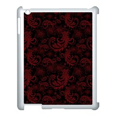 Dark Red Flourish Apple Ipad 3/4 Case (white) by gatterwe