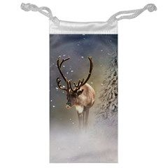 Santa Claus Reindeer In The Snow Jewelry Bag by gatterwe