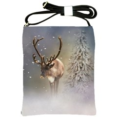 Santa Claus Reindeer In The Snow Shoulder Sling Bag by gatterwe