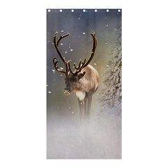 Santa Claus Reindeer In The Snow Shower Curtain 36  X 72  (stall) by gatterwe