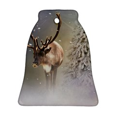 Santa Claus Reindeer In The Snow Ornament (bell) by gatterwe