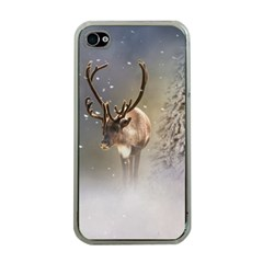 Santa Claus Reindeer In The Snow Apple Iphone 4 Case (clear) by gatterwe