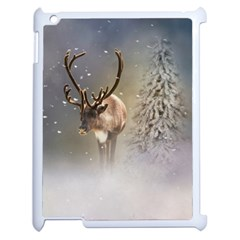 Santa Claus Reindeer In The Snow Apple Ipad 2 Case (white) by gatterwe