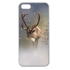 Santa Claus Reindeer In The Snow Apple Seamless Iphone 5 Case (clear) by gatterwe