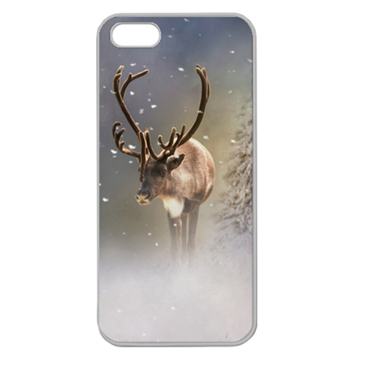 Santa Claus Reindeer in the snow Apple Seamless iPhone 5 Case (Clear)