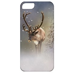 Santa Claus Reindeer In The Snow Apple Iphone 5 Classic Hardshell Case by gatterwe