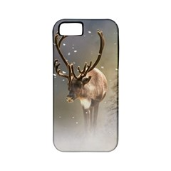 Santa Claus Reindeer In The Snow Apple Iphone 5 Classic Hardshell Case (pc+silicone) by gatterwe