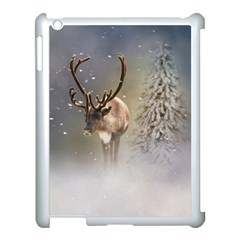 Santa Claus Reindeer In The Snow Apple Ipad 3/4 Case (white) by gatterwe