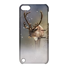 Santa Claus Reindeer In The Snow Apple Ipod Touch 5 Hardshell Case With Stand by gatterwe