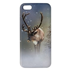 Santa Claus Reindeer In The Snow Apple Iphone 5 Premium Hardshell Case by gatterwe