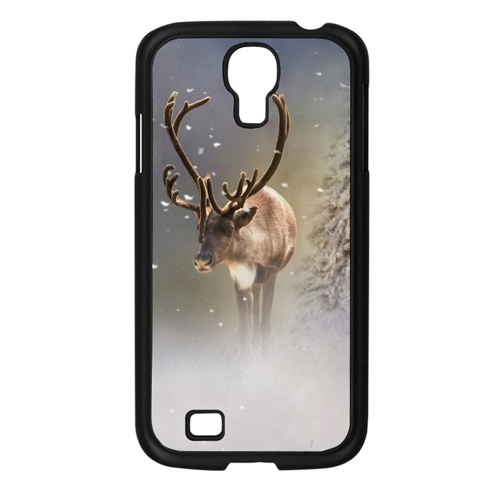 Santa Claus Reindeer in the snow Samsung Galaxy S4 I9500/ I9505 Case (Black)