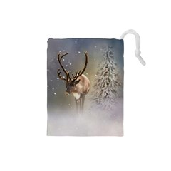 Santa Claus Reindeer In The Snow Drawstring Pouch (small) by gatterwe