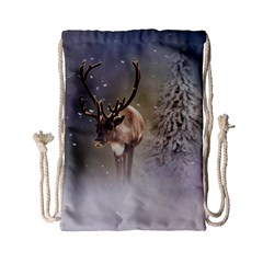 Santa Claus Reindeer In The Snow Drawstring Bag (small) by gatterwe