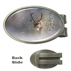 Santa Claus Reindeer In The Snow Money Clip (oval) by gatterwe