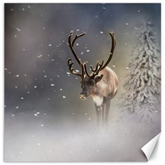Santa Claus Reindeer In The Snow Canvas 20  X 20  by gatterwe