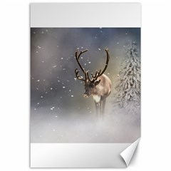 Santa Claus Reindeer In The Snow Canvas 24  X 36