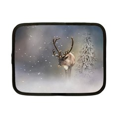 Santa Claus Reindeer In The Snow Netbook Case (small) by gatterwe