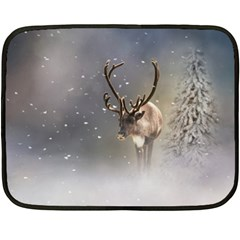 Santa Claus Reindeer In The Snow Fleece Blanket (mini) by gatterwe