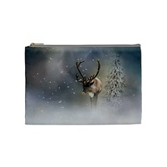 Santa Claus Reindeer In The Snow Cosmetic Bag (medium) by gatterwe