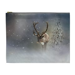 Santa Claus Reindeer In The Snow Cosmetic Bag (xl) by gatterwe