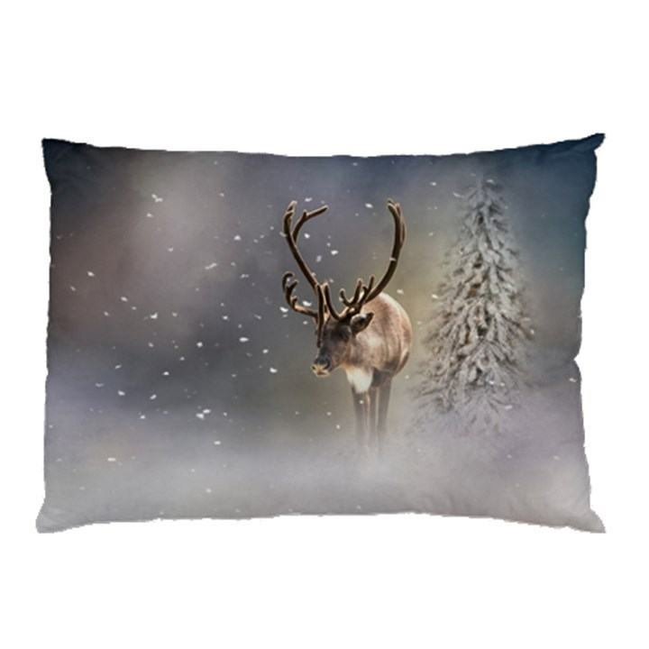 Santa Claus Reindeer in the snow Pillow Case (Two Sides)